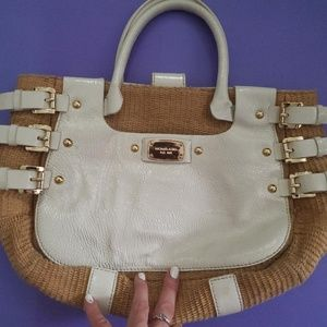 Michael Kors white and tan with gold hardware